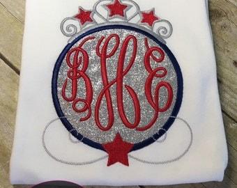 Patriotic Princess Monogram shirt or onesie! 4th of july shirt!