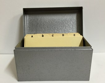 "Vintage Large Metal Index File Box Holds 8"" x 5"" Index Cards/ File Card Box"