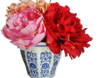 "8"" Peony/Hydrangea Silk Arrangement with Blue White Container, Pink/Peach/Fuchsia"