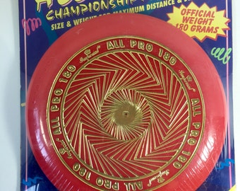 Imperial All Pro 180 Champion Flying Disc Frisbee red and gold!