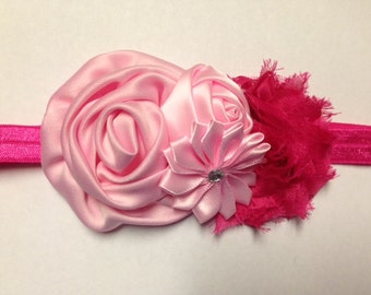 Headband Baby Girls Newborn Toddler teen shocking pink hot pink Shabby Chic Bling Rolled Satin flower rossette rhinestone Valentine's Day
