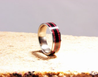 Purpleheart and Ebony Dual wood inlay ring with Titanium band. Dual wood inlay,exotic wood inlay ring, Ebony inlay ring