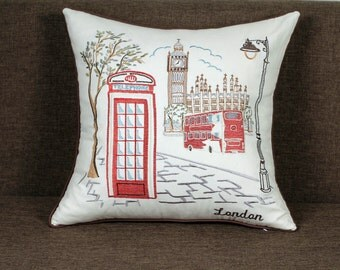 "London City Embroidered Pillow/Cushion Cover Decorative Pillow Cover Wedding Gifts,18""x18"""