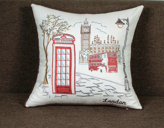 Wedding Gifts London: Items Similar To London City Embroidered Pillow/Cushion