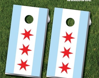 Chicago Flag Cornhole Game