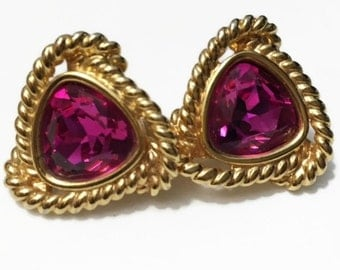 Pink Swarovski Clip On Earrings, Gold Tone Swarovski Swan