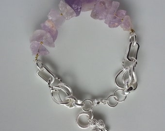 Gemstone and 925 sterling silver chain bracelet Raw Amethyst Nugget bead bracelet Jewelry Girlfriend Gift Silver Bead Bracelet Gift Teens