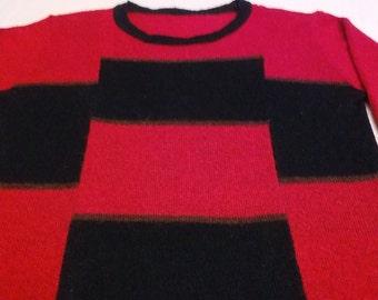 Red and Black Women blouses knitwear Wool, Warm winter Women knitted blouse