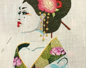 WIP - Geisha - hand embroidered