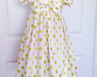 FLUFFY SLEEVE!! White/ Gold Polkadots Heirloom Dress !! Please Read Size detail!
