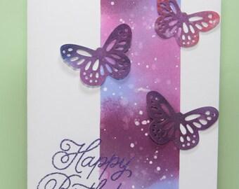 Handmade Happy Birthday card  with purple butterflies