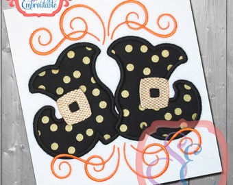 SWIRLY WITCH BOOTS Applique Design For Machine Embroidery