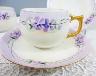 German Hand Painted Violet Porcelain Teacup and Saucer - 1 Available