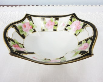Antique Nippon Handled Hand Painted Rose Dish with Black and Gold Accents