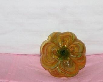 Vintage Art Glass Swirl Pumpkin