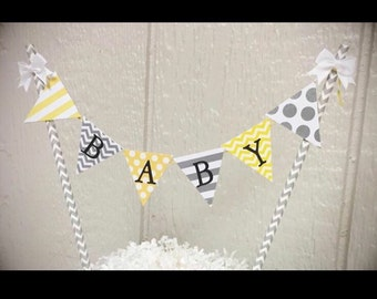 "Gray/Yellow ""You Are My Sunshine"" Cake Banner"