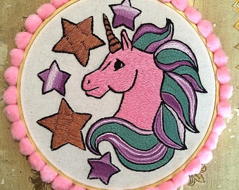 Unicorn embroidery hoop wall hanging