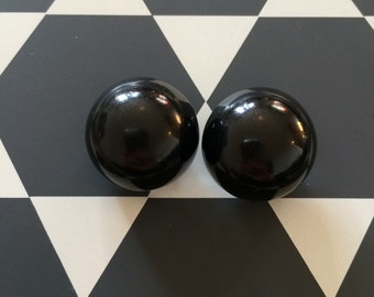 Retro vintage clip on black earrings from the 1960s