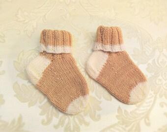 Baby socks, hand knitted, beige