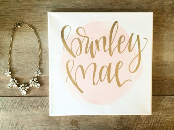Custom Baby Name Sign Paint Splotch Background 12x12 By