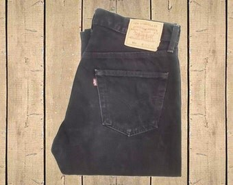 Vintage Levis 501 Jeans Canada Made Black Straight Leg Button Fly Red Tab 1990s W33 L32
