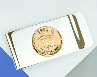 Farthing Year Coin Money Clip 1920 - 1956 - Milestone Birthday Gift - Gift For Dad - Gifts for Him - Personalised Money Clip  [FARTMC]