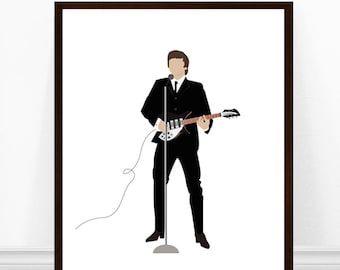 John Lennon Print, John Lennon Portrait Art, Beatles Art, Beatles Print, The Beatles, John Lennon Minimalist Print