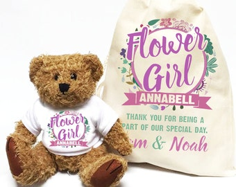 Wedding day thank you gift | Personalised Flower Girl Teddy Bear with matching gift Bag |  Wedding party gift.