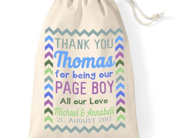 Personalised Page Boy, wedding day thank you cotton gift bag | Bridal party junior usher | Pastel Rainbow.
