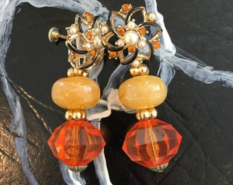 one-off earrings from vintage parts