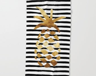 Oversized Beach Towel - Pineapple and Stripes - Gold Black and White