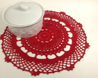 Crochet Red Doilie (#03-01-4)