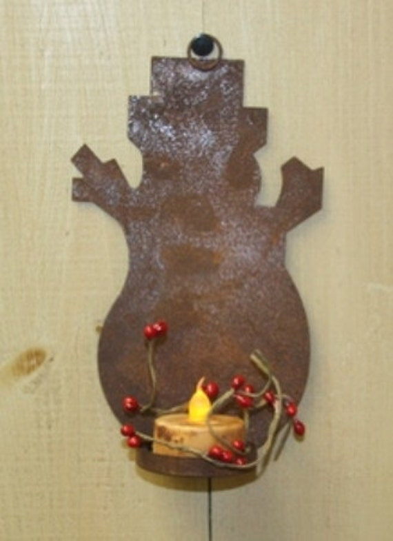Rustic Rusty Tin Snowman Ornament