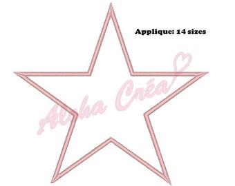 Machine Embroidery Design Star applique (14 sizes) - Instant Digital Download