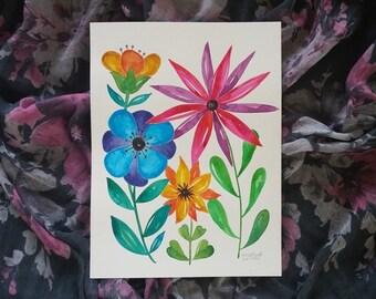 Wild Flower Garden Bright Colors Original Art 9 x 12 Pretty Watercolor