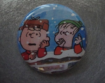 It's Christmas Charlie Brown Pinback or Magnet