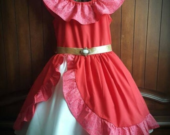 Elena of Avalor inspired 100% Cotton Dress with Petticoat included
