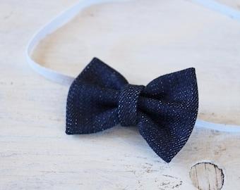 Denim Bow Headband or Clip, Hair Clip, Bow Headband