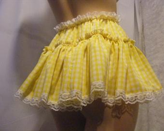 sissy adult baby clothing yellow gingham micro mini skirt aprx 11 inches long, tv fancy dress cross dress mens female