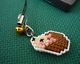Cross stitch phone charm - kawaii hedgehog, gift for teens, cute keychain, kawaii charm, cute phone dangle, Dust Plug, Earphone Plug