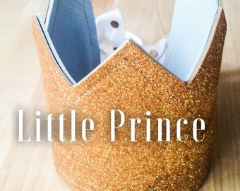 Blue and Gold Little Prince Crown, Prince Crown, Birthday Crown, Baby Boy Crown, Gold Crown, Birthday Boy Crown, Glitter Crown, Party Hat