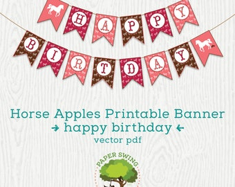 Printable Happy Birthday Horse Banner