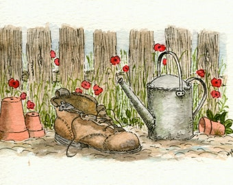 Garden Allotment Blank Greeting Card (Pen, Ink and Watercolour)
