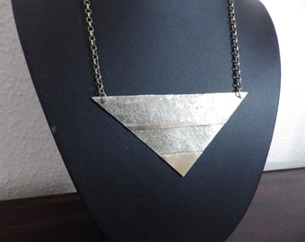"""Large Sterling Silver and 9ct Gold hammered Triangle Bib Pendant Necklace 18"""" inches"""