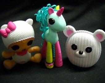 "Lalaloopsy Mini Figures 4"" Baby Doll Unicorn 3"" Bear Hard Rubber Plastic"