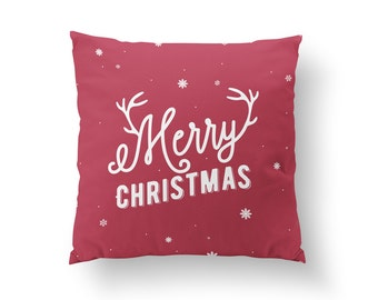 Merry Christmas Pillow, Christmas Pillow, Home Decor, Cushion Cover, Throw Pillow, Bedroom Decor, Decorative Pillow, Bed Pillow, Santa