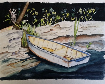 Boat at the Shoreline (Unframed Original Watercolor)