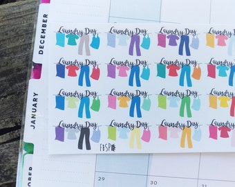 Laundry Day Clothes Line Banner Stickers