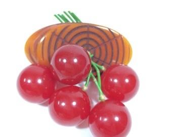 RARE - Bakelite Cherry Brooch