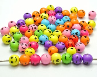 SET of 50 8mm Bright and Colorful Assorted Smile Face Round Beads